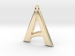 """""""A"""" Letter Initial Pendant in 14k Gold Plated Brass"""