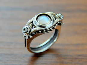 """Gear of Moon Stone"" Silver Ring -Not for sale- in Natural Silver"