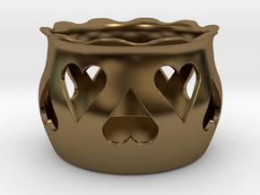 Tea Light Holder Heart in Polished Bronze