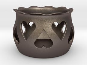 Tea Light Holder Heart in Polished Bronzed Silver Steel