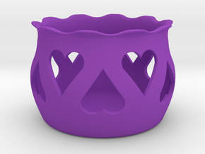Tea Light Holder Heart in Purple Processed Versatile Plastic