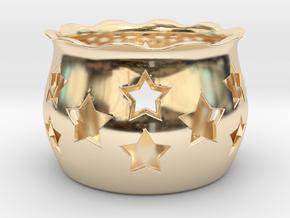 Tea Light Holder Star in 14K Yellow Gold