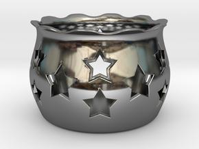 Tea Light Holder Star in Fine Detail Polished Silver