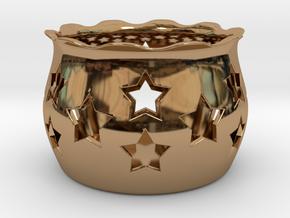 Tea Light Holder Star in Polished Brass