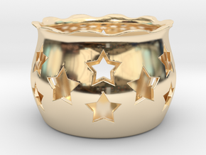 Tea Light Holder Star in 14k Gold Plated Brass