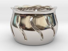 Tea Light Holder Wave in Platinum