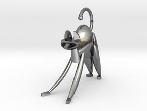 Stretching Cat, stylized in Polished Silver