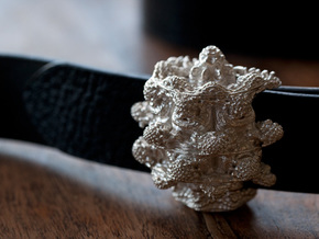 Mandelbulb Belt Buckle - Precious Metal version in Natural Silver