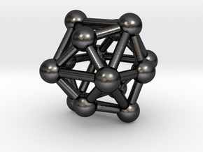 0333 Tetrakis Hexahedron V&E (a=1cm) #003 in Polished Grey Steel