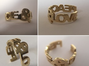 Peace&Love ring Size7 in Polished Brass