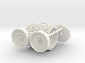 1/64 54in Tire And Rim set of 4 in White Strong & Flexible