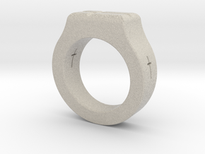 Holy Cross Ring in Natural Sandstone