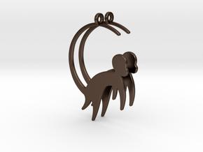 Cute Monkey Earrings in Polished Bronze Steel
