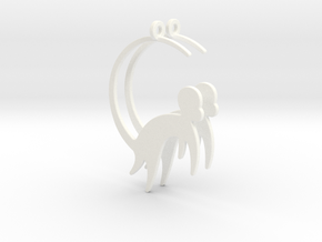 Cute Monkey Earrings in White Processed Versatile Plastic