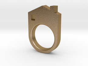House Ring in Polished Gold Steel