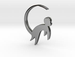 Lucky charm earrings Monkey  in Fine Detail Polished Silver