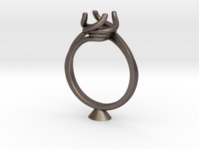 CD248 - Jewelry Engagement Ring 3D Printed Wax Res in Polished Bronzed Silver Steel