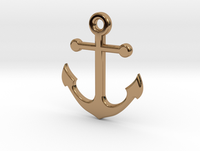 Anchor Necklace Pendant in Polished Brass