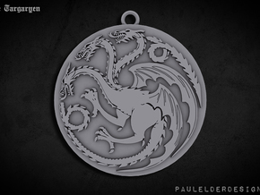 Targaryen Pendant in Polished Bronzed Silver Steel