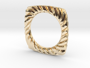 PILLOW CARVED BANGLE 2.5 ID in 14k Gold Plated Brass