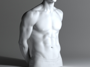 Man Body Part 002 scale in 4cm in White Strong & Flexible Polished