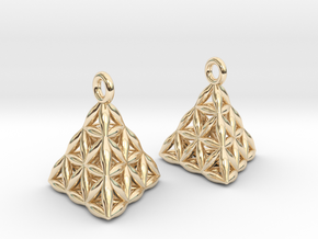 Flower Of Life Tetrahedron Earrings in 14k Gold Plated Brass