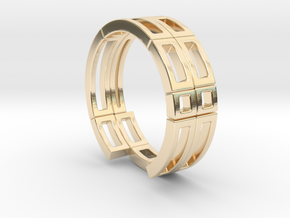 Geometri-k ring Size T in 14k Gold Plated Brass
