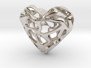 LoveHeart in Rhodium Plated Brass