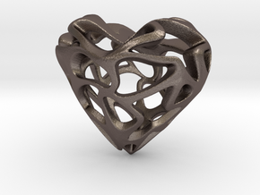 Loveheart in Polished Bronzed Silver Steel