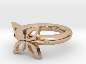 The ring of four leaves in 14k Rose Gold Plated Brass