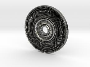 Peace Wheel Pendant #1 in Fine Detail Polished Silver