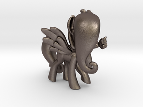 Fluttershy 1 Full Color - M1 in Polished Bronzed Silver Steel