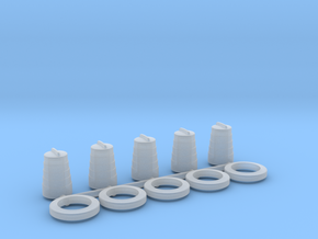 HO Scale 1:87 Construction barrel barrier  in Smooth Fine Detail Plastic