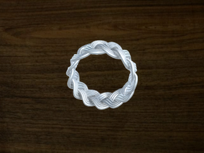 Turk's Head Knot Ring 3 Part X 13 Bight - Size 7.5 in White Natural Versatile Plastic