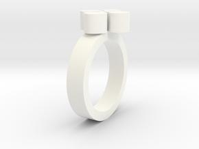 Flower Ring in White Processed Versatile Plastic