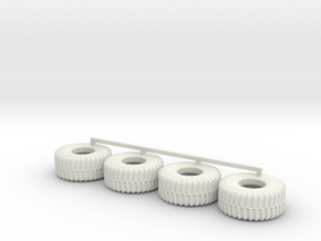 HO scale Heavy Equipment Tires in White Natural Versatile Plastic