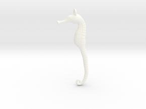 Sea Horse Pendant in White Processed Versatile Plastic