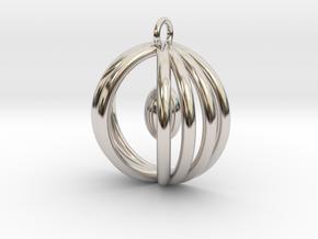 Half sphere pendant in Rhodium Plated Brass
