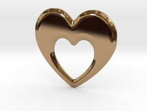 Heart within a Heart in Polished Brass