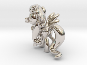 Fluttershy 1 Full Color - S1 in Rhodium Plated Brass