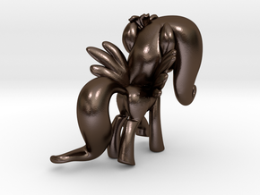 Fluttershy 1 Full Color - M3 in Polished Bronze Steel
