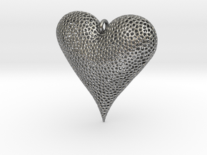 Valentines Day Voronoi Heart Pendant in Natural Silver
