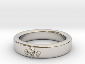 Smooth Anatomical Skull Ring in Rhodium Plated Brass