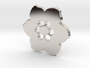 Happy Flower Pendant in Rhodium Plated Brass