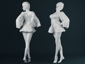 Skirt Girl-002 scale 1/24 in Smooth Fine Detail Plastic