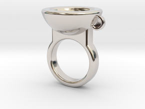 Coffe Cup Ring in Rhodium Plated Brass