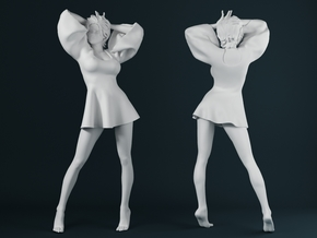 Skirt Girl-003 scale 1/24 in Smooth Fine Detail Plastic