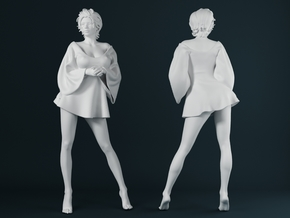 Skirt Girl-006 scale 1/24 in Smooth Fine Detail Plastic: 1:24
