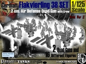 1-125 Flakvierling 38 Set 1 in Smooth Fine Detail Plastic