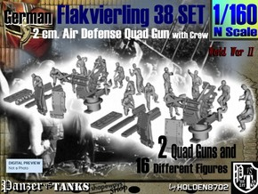 1-160 Flakvierling 38 Set 1 in Smooth Fine Detail Plastic